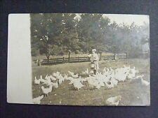 Girl Feeding Chickens Farm Life Chores Real Photo Postcard RPPC c1908-10