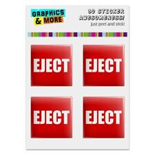 Red Eject Button Design Funny Computer Case Modding Badge Stickers Set