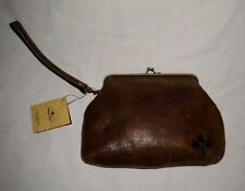 PATRICIA NASH VINTAGE DISTRESSED LEATHER FRAME PURSE WRISTLET