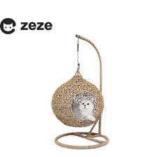 New ZEZE Pet bed Cat Hanging Basket Kitten House Rattan Handmade Nest AU STOCK