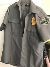 Grey Short Sleeve Security Officer Shirt W/ Patches-By LAW PRO-size Med