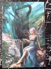 Cris Ortega impresión Pinup Vintage 2008 Fantasía Arte Erótico desnudo bosque Elfo Hada