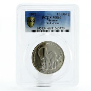 Vietnam 10 dong Dinosaur Diplodocus MS69 PCGS copper-nickel coin 1993