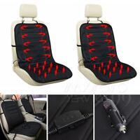 2pcs 12V Black Car Heated Heating Pad Hot Front Seat Cushion Cover Winter Warmer
