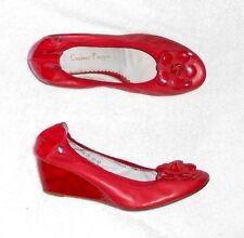 COULEUR POURPRE escarpins compensés cuir rouge P 39 = 38 TBE