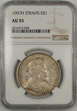 1907-H Straits Settlements $1 Dollar Silver Coin NGC AU-55