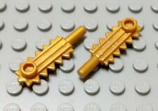 New LEGO Lot of 2 Pearl Gold Minifigure Chainsaw Blade Pieces