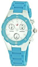 NEW MICHELE TAHITIAN JELLY BLUE TURQUOISE CHRONOGRAPH WATCH-MWW12D000004