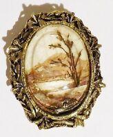 broche pendentif bijou vintage couleur vieil or camée paysage fleur séché 3224