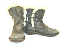 Women's UGG Blue Distressed Leather Fur Trimmed Winter Boots Akadia sz.9