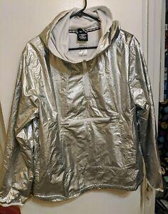 Umbro Premier New Large Metallic Silver Hoodie M L long sleeve 90's unisex