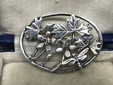 Lovely Oval Sterling Silver Flowers, Leaves & Dragonfly Brooch