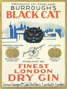 Black Cat Gin Londons finest vintage label reproduction steel sign bar decor