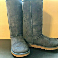 UGG Australia Winter Boots Blue Suede Sherpa Lining Classic Tall Youth 6 Women 8