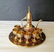 Set of 8 Vtg India Engraving Brass/Enamel Pitcher/Kettle/Teapot, 6 Cups & Plate