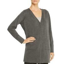 Eileen Fisher Womens Gray Extra Fine Merino Wool Sweater Cardigan L 9654