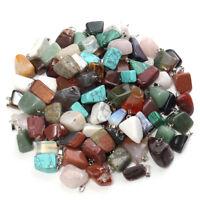 100Pcs Natural Quartz Necklace Crystal Pendant Healing Cut Gemstone Reiki Stone