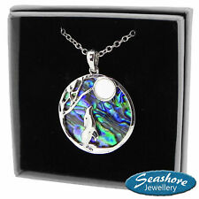 """Moon Gazing Hare Necklace Abalone Shell Pendant Silver Fashion Jewellery 18"""""""
