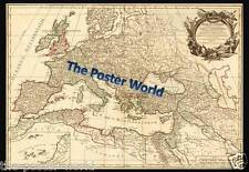 Vintage Style Map of Europe Image Picture Poster Home Art Print - Wall Decor New