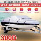 300d Waterproof Heavy Duty Boat Cover Trailerable Fishing Ski Bass V-hull