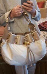 Authentic BURBERRY Prorsum Warrior Beige  Check Hobo Drawstring Bag Large AsNew