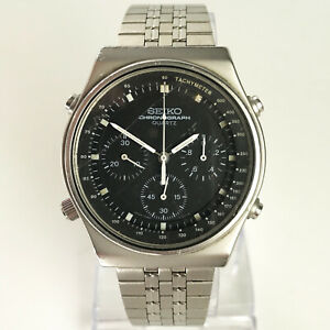 SEIKO 7A28-701A SPEEDMASTER Watch chronograph silver steel black 1982 Bond 007
