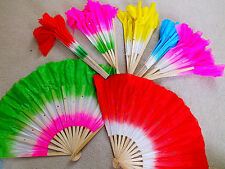 """12 XL MIX COLOR DANCE 16"""" CHINESE HAND FAN SPECIAL EFFECT WAVY EDGE STAGE PARTY"""
