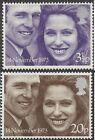 Great Britain 1973 ROYAL WEDDING (2) Unhinged Mint SG 941-2