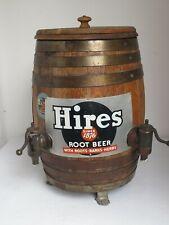 Antique Hires Root Beer Wooden Barrel Dispenser 2 Spigots and Claw Feet