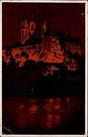 Meißen Meissen Ansichtskarte 1943 Blick auf die Albrechtsburg Nachtbeleuchtung