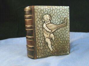 ANTIQUE LEATHER & CELLULOID MISTLETOE ANGEL CHERUB PUTTO PLAYING A MANDOLIN BOOK
