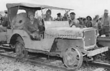 WW2 Picture Photo Burma 1944 General Stilwell in Jeep adapted for rail use 2803