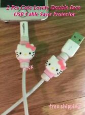 Hello Kitty Pink 2pcs Cartoon Shape USB Data Charger Cable Saver Protector
