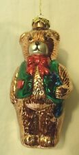 """Christmas Ornment Blown Glass Teddy Bear With Green Vest And Bow Tie 5 1/2"""" Tall"""