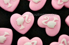 15pcs Resin Barbie Girl Ponytail Cabochons Flat back Heart Shape Doll Dolls F348