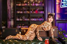 Leopard Catsuit Long Sleeve 2 ways Two Zipper Bodystocking Mesh Cat Costume Suit