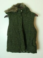 BB Dakota Women's Medium Greem Fur Hooded Full Zip Vest