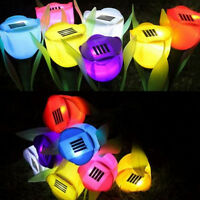 Outdoor Solar Powered Luminous Tulip Flower LED Light Garden Lawn Landscape Lamp