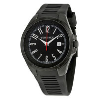 Versace V-Man Black Dial Rubber Strap Mens Watch P7Q60D009-S009