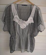 Dotti Women's Sheer Grey Black White & Brown Top with Crochet Detailing - Sz 12