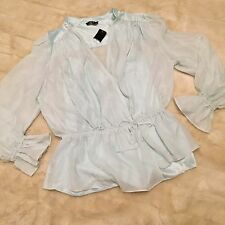 Bebe Silk Chiffon Tie Waist Top in Sea Glass Blue Sz Large Long Sleeve