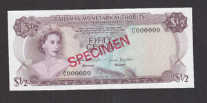 50 CENTS UNC SPECIMEN BANKNOTE BAHAMAS MONETARY AUTHORITY 1968 PICK-26S RARE