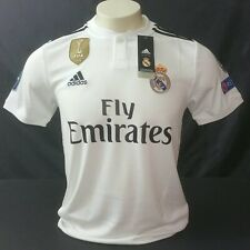Adidas Real Madrid UCL Home Jersey 18/19, White/Black, Size S