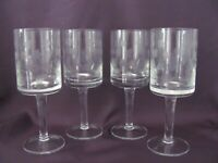 Romanian Hand Etched Floral Pattern W/Square Bowls Wine Glasses - SET OF 4