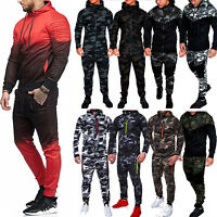 Mens Fleece Tracksuit Suit Hoodie Top+Bottoms Joggers Pants Gym Trackies Jogging