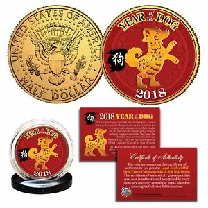 2018 Chinese CNY New YEAR OF THE DOG 24K Gold Plated JFK Half Dollar Coin
