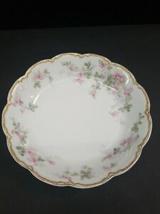 "Haviland Limoges Pink Flower on Vine Casserole Dish Bowl 9"" France Scalloped"