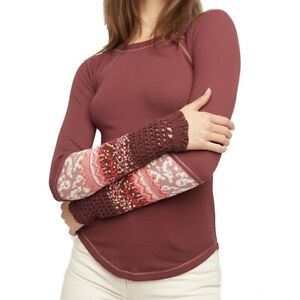 NWT FREE PEOPLE M Rio Vino In The Mix Knit Cuff Thermal Top NEW