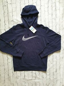 Nike Hoodie Medium Navy Blue Swoosh Logo Pullover