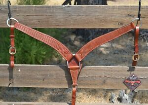 "Circle Y 2"" Shaped Breast Collar Basket Tooled - Regular Russet Oil"